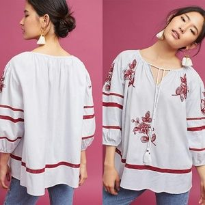 Velvet by Graham & Spencer Embroidered Peasant Top